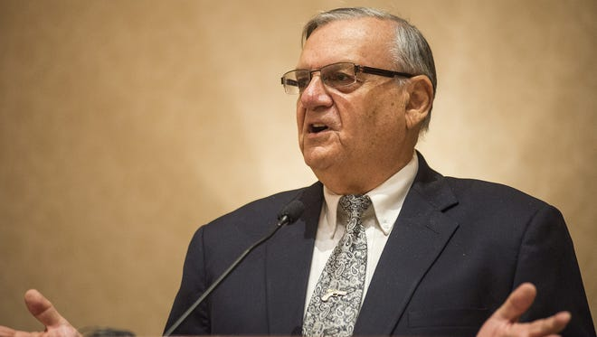 Sheriff Joe Arpaio speaks at the Marine Corps League National Convention at the Scottsdale Plaza Resort on Monday, Aug. 10, 2015. An emerging lawsuit against the sheriff focuses on workplace raids and identity theft.
