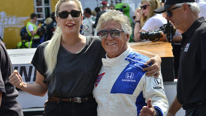 Lady Gaga and Mario Andretti before the start of the 100th running of the Indianapolis 500 Sunday, May 29, 2016, afternoon at the Indianapolis Motor Speedway.