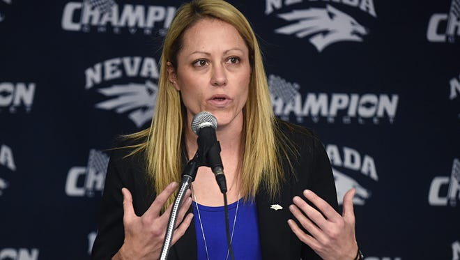 Amanda Levens speaks earlier this month at Legacy Hall after being introduced as the new Wolf Pack women's basketball coach.