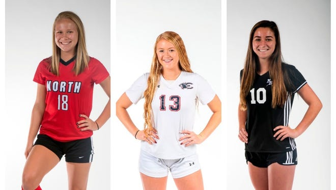 The finalists for the 2018 News-Press Girls Soccer Player of the Year are (from left) Emilee Hauser, Maggie Struble, and Taylor Yount.