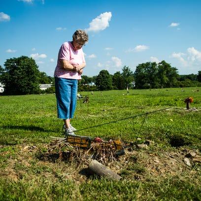 Joyce Gordon, of Hamiltonban Township, looks down at