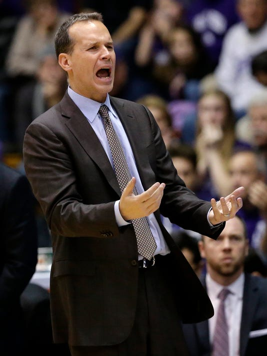 Northwestern head coach Chris Collins reacts to a call during the second half of an NCAA college basketball game against Penn State, Saturday, Jan. 16, 2016, in Evanston, Ill. Penn State won 71-62. (AP Photo/Nam Y. Huh)