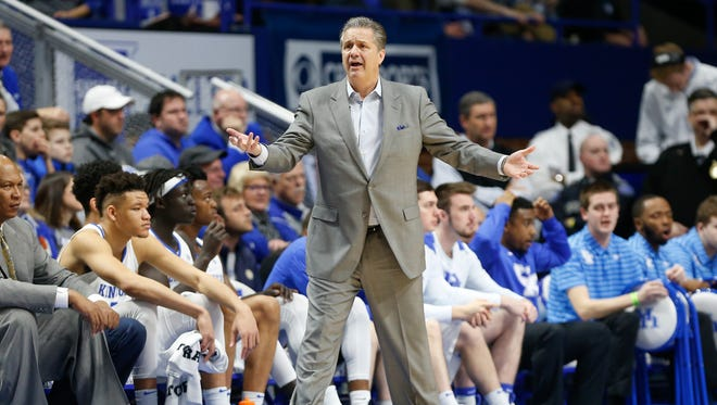 Head coach John Calipari of the Kentucky Wildcats reacts after a call by a referee during the first half against the Alabama Crimson Tide at Rupp Arena in Lexington, KY., on February 17, 2018.
