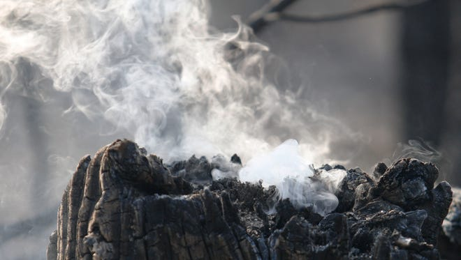 A tree stump was still smoldering after a wildfire went through part of the southeast corner of Christian County in Missouri last week.