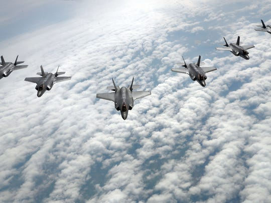 F-35 Lightning II's from Hill Air Force Base, Utah, fly in formation during a training flight May 2, 2017. F-35 pilots are using the airframe in its first-ever flying training deployment to Europe.