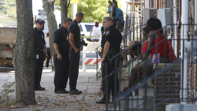 Wilmington police investigate in the 600 block of W. 6th Street after a shooting Monday afternoon.
