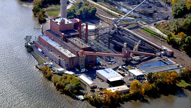 This view of the Danskammer power plant looks south along the Hudson River in the Town of Newburgh. The entire property is about 180 acres but the part of the facility east of the railroad tracks that generates power, pictured, is 52 acres.