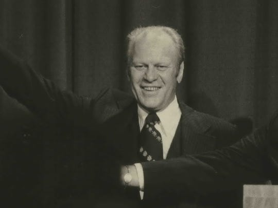 President Gerald Ford speaks to a crowd in Milwaukee in 1975.