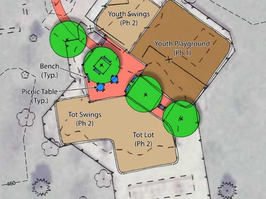 Design of playground to be built at Lebanon's Southwest Park on Saturday.