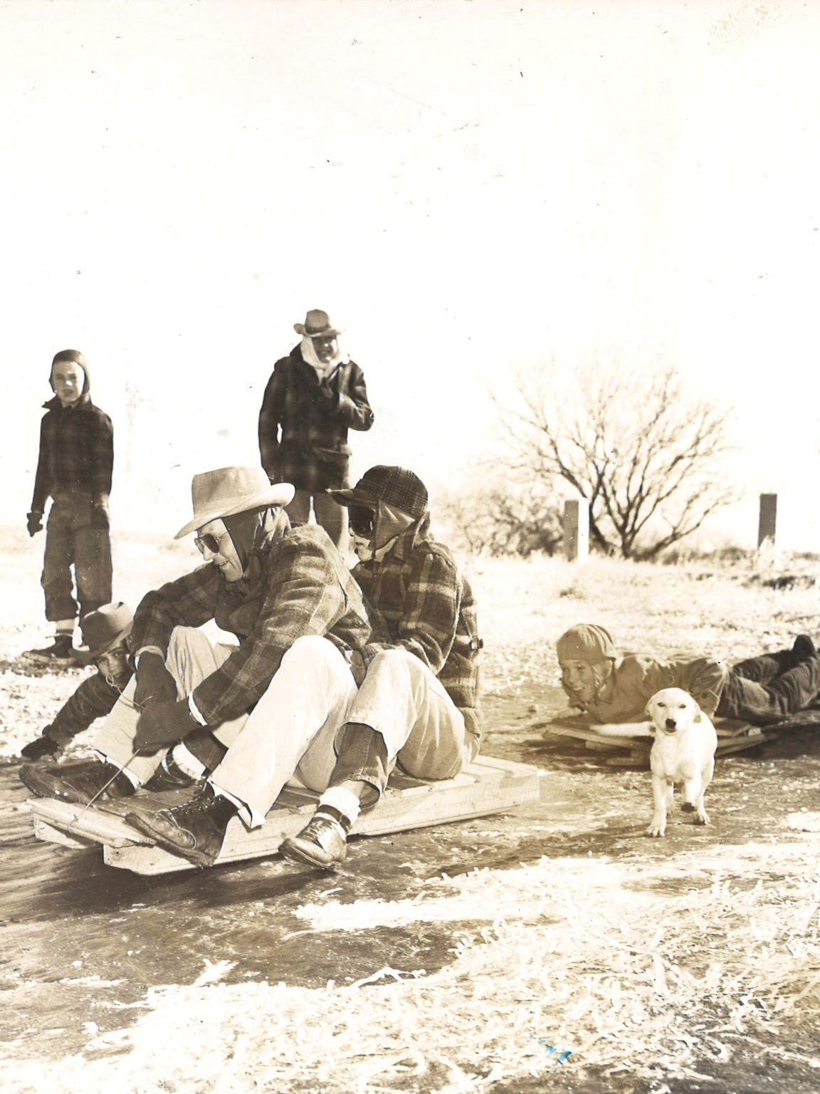 Some residents gave sledding a try following the ice storm of January 1951.