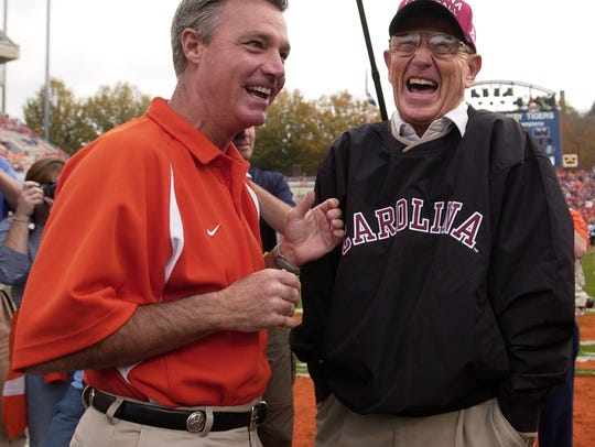 Clemson head coach Tommy Bowden and USC head coach