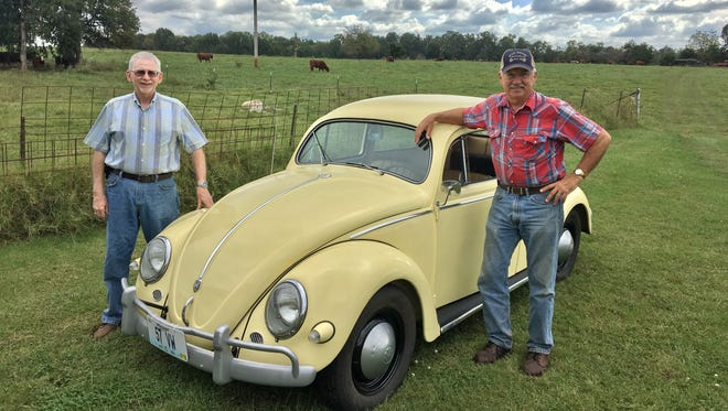Dave Kucera and Sam Schaumann with Schaumann's 1957 Volkswagen Beetle on his farm near Billings. The two best friends took a road trip from Billings to Colorado and back in the 61-year-old car in Sept. 2017. In 1967, they took the same trip upon graduating high school — in the same car.