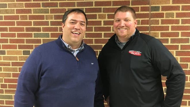 Chip Crabill, left, and Leland McCray broadcast games for Staunton's ESPN 1240.