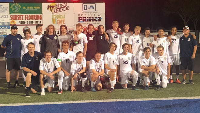The Snow Canyon Warriors boys soccer team following their 3-1 victory over the Dixie Flyers on April 24, 2018
