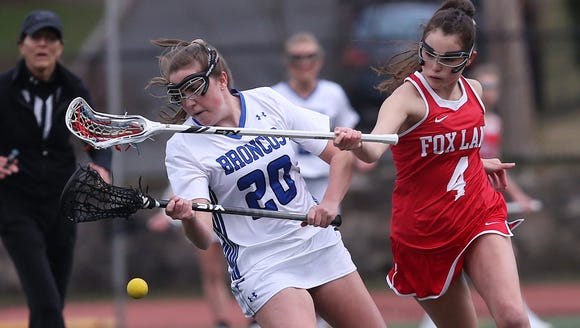 Bronxville's Isabella Senday (20) and Fox Lane's Hanna