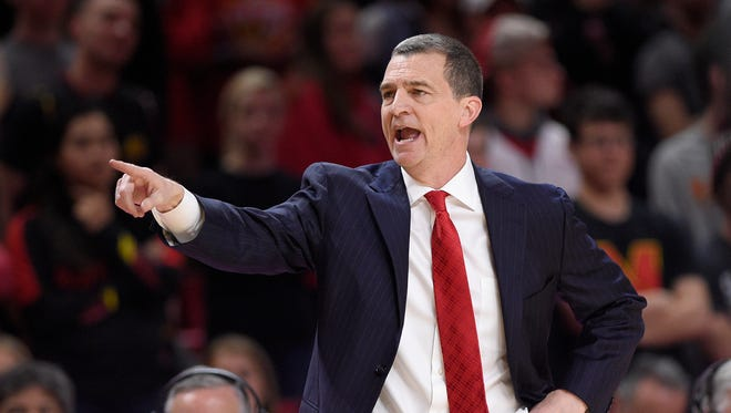 In this Feb. 17, 2018 file photo, Maryland coach Mark Turgeon gestures during the second half of the team's NCAA college basketball game against Rutgers in College Park, Md.