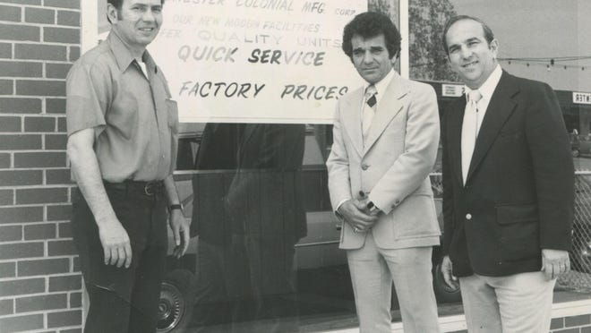 """In this circa 1975 photo, Rochester Colonial founder Salvatore """"Sam"""" Gionta, at right, and Vince Gionta, center, pose with an unidentified man outside the company's Lyell Avenue plant."""
