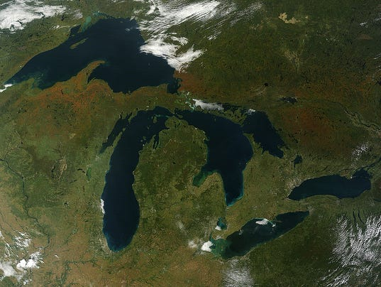 Satellite image of Michigan.