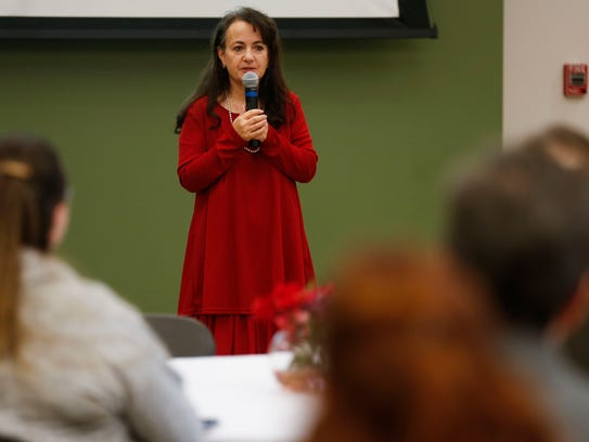 Dana Carroll, who serves as the Springfield Child Advocate, speaks Friday. The Darr Family Foundation awarded $1.01 million Friday to expand early childhood education and literacy efforts in Springfield.