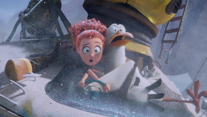 """From left, Tulip, voiced by Katie Crown, and Junior, voiced by Andy Samberg, in the animated adventure """"Storks."""" The movie opens Thursday at Regal West Manchester Stadium 13, Frank Theatres Queensgate Stadium 13 and R/C Hanover Movies."""