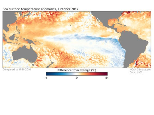 Sea-surface temperatures in the Pacific Ocean, as compared to average. Blue areas are cooler-than-average, while orange areas are warmer-than average. La Niñ a is the blue area that stretches west of South America.