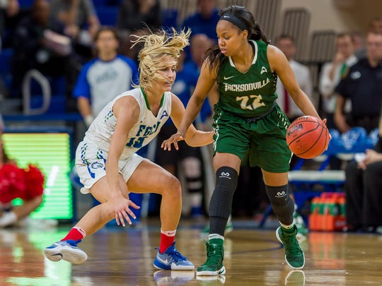 FGCU senior guard Jordin Alexander held Jacksonville's leading scorer, senior guard Sherranda Reddick to just five points in the Eagles' 60-57 home win last Saturday. That was about 13 points below her average and was a big difference in the game.