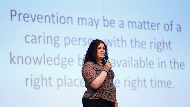 Whitney Nixon leads a public forum on suicide awareness and prevention Wednesday, May 11, 2016, at North Montgomery High School. Nixon is a master trainer for Community Health Network  and Zero Suicides for Indiana Youth. Three students from North Montgomery High School have taken their own lives since June 2015.