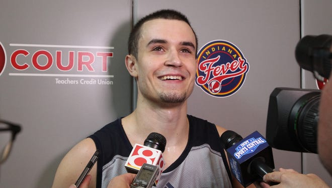 Max Landis fields questions Wednesday after working out for his hometown Pacers.