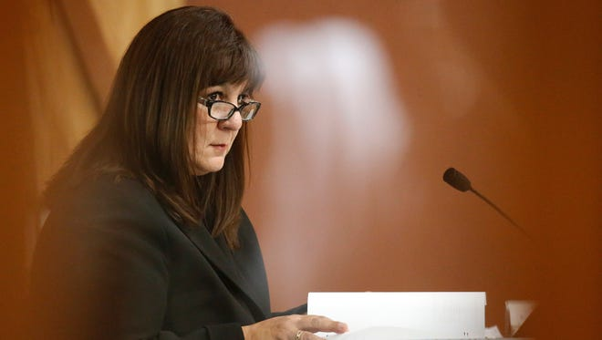 Former Bowie High School Assistant Principal Anna Luisa Kell takes the witness stand Wednesday during the third day of hearings in which Kell, former Bowie High School Principal Jesus Chavez and ex-Bowie Assistant Principal Juan Manuel Duran are fighting possible sanctions or the revocation of their credentials over their alleged roles in the 2006-13 EPISD cheating scheme.