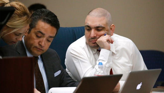 Ever Mendez, right, sits with his attorney, center, Monday on the first day of his trial. Mendez is on trial in the 205th District Court on capital murder charges in the death of 2-year-old Isaiah Villanueva, who died of blunt force trauma in 2012. Isaiah died at a hospital after he was found unresponsive at his home in the 600 block of Lafayette Drive in the Lower Valley. Police said Mendez lived with the boy's mother and her children.