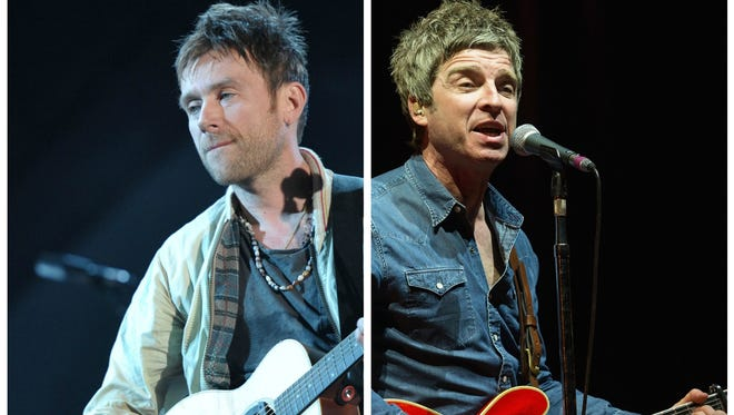 Blur's Damon Albarn, left, and Oasis' Noel Gallagher.
