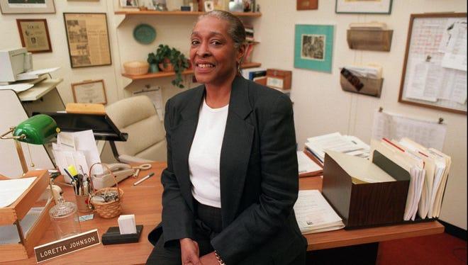 Loretta Johnson at her desk in the Rochester City School District.