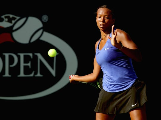 Brienne Minor returns a shot against Ons Jabeur during their second round match on Day Three of the 2017 US Open at the USTA Billie Jean King National Tennis Center on Aug. 30, 2017 in New York City.