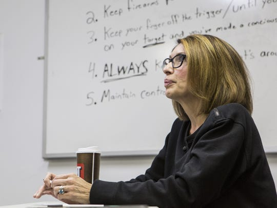 Three Arizona teachers from came together in Mesa for a lesson on gun safety and a conversation about guns in the classroom on March 10, 2018.
