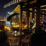 There are spectacular views of Manhattan from the River Cafe in Brooklyn.