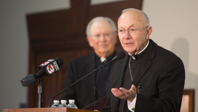 The Most Rev. J. Douglas Deshotel  addresses the media during a press conference announcing him as the new Bishop of Lafayette Feb. 17, 2016.