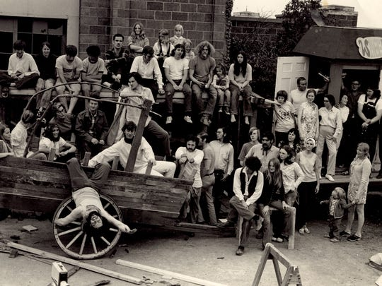 This is an early photo of the Hangar Theatre company that was under Bill Carpenter's direction under the auspices of the Wheels and Doors Theater. Several groups came together to former the Hangar: the Ithaca College Drama Department, the Cornell Drama Department, the Ithaca Repertory Company, and the Wheels and Doors Theater. The photo was taken between 1969 and 1971.