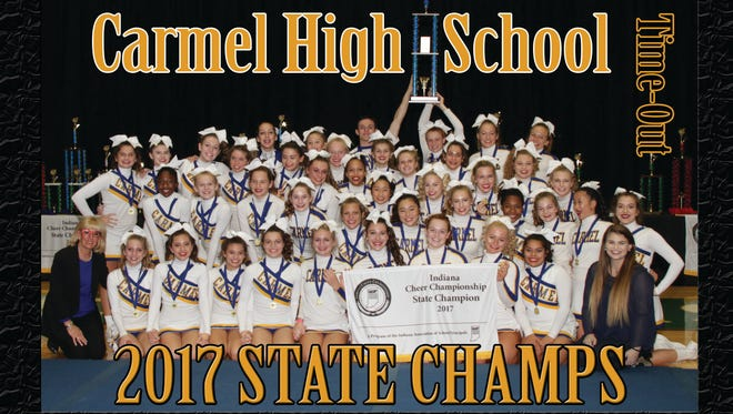 Carmel High School was named High School Time-Out champion at the Indiana Cheer Championships in New Castle on Saturday, Nov. 4.