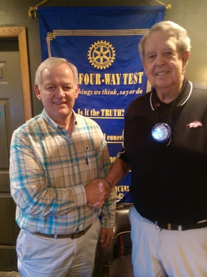 Lakeview Rotarian of the day George Lewis, right, and guest Mayor of Flippin Jerald Marberry at a recent Bull Shoals-Lakeview Rotary Club meeting.
