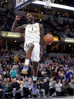 Indiana Pacers guard Lance Stephenson (1) reacts after a dunk against the Charlotte Hornets during the second half of an NBA basketball game in Indianapolis, Monday, Jan. 29, 2018.