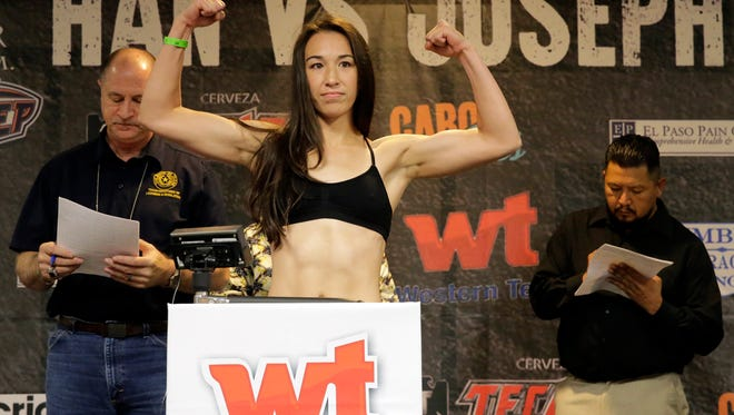 El Pasoan Jennifer Han stepped on the scales for the official weigh-in Friday afternoon, weighing in at the limit of 126 pounds. Han will challenge Helen Joseph of Nigeria for the IBF featherweight championship title Saturday in the Don Haskins Center.