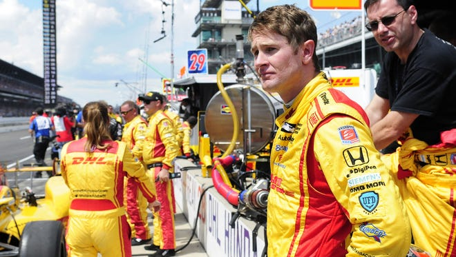 IndyCar driver Ryan Hunter-Reay (28) is disappointed with his finish after an incident on pit road knocked him from contention during the 100th running of the Indianapolis 500, Sunday at the Indianapolis Motor Speedway.