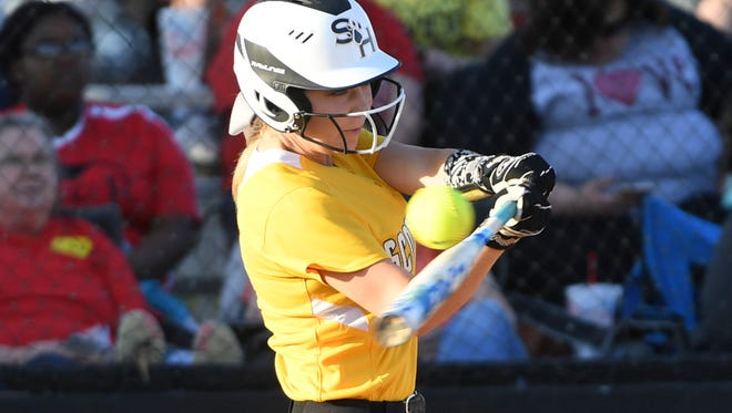 Scotts Hill's Chelsey Gore takes a swing at a pitch from South Side's Kayla Beaver during their game, Thursday, April 12. South Side defeated Scotts Hill, 4-0.