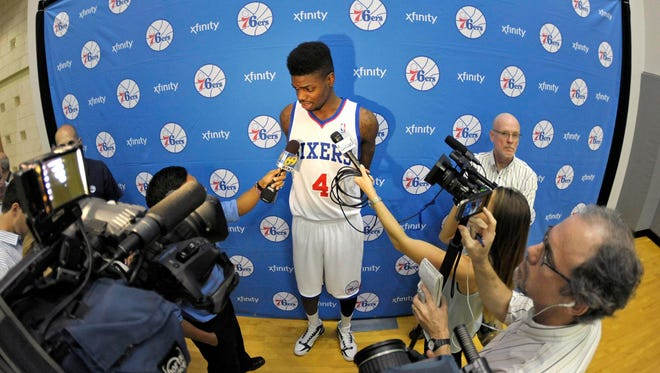 Center Nerlens Noel was a star attraction at 76ers media day.