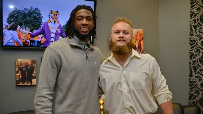 Former Clemson football players Ben Boulware, right, and Mike Williams spoke during the Coaches 4 Character event Monday, March 27, 2017, at Redemption World Outreach Center.