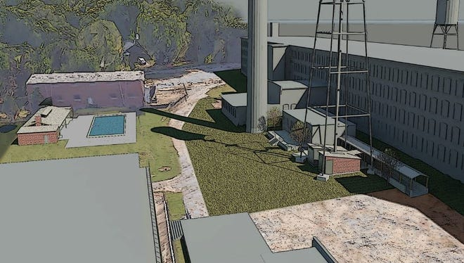 A rendering showing the Woodside Mill renovated into apartments with a common space and pool.