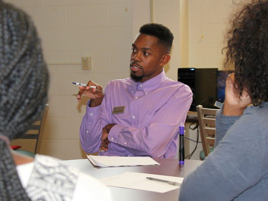 Austin Allen-Walker leads a diversity roundtable at Silver Lake College.
