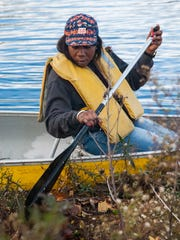 A volunteer paddles along the along the Wicomico River