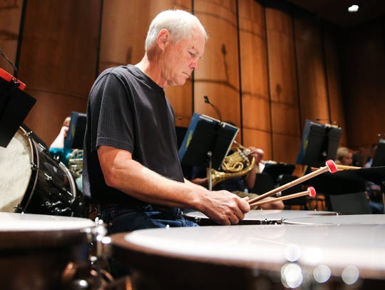 Jim Bode practices with the San Angelo Symphony for