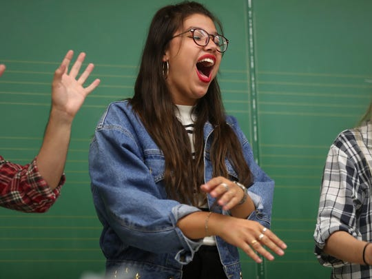 All-Night Yahtzee performer Valeria Rigobon sings with her a capella group as they rehearse at the Kuersteiner Music Building on FSU's campus Wednesday, April 11, 2018.
